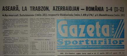 Remember: Azerbaidjan - România 1-4, 1995